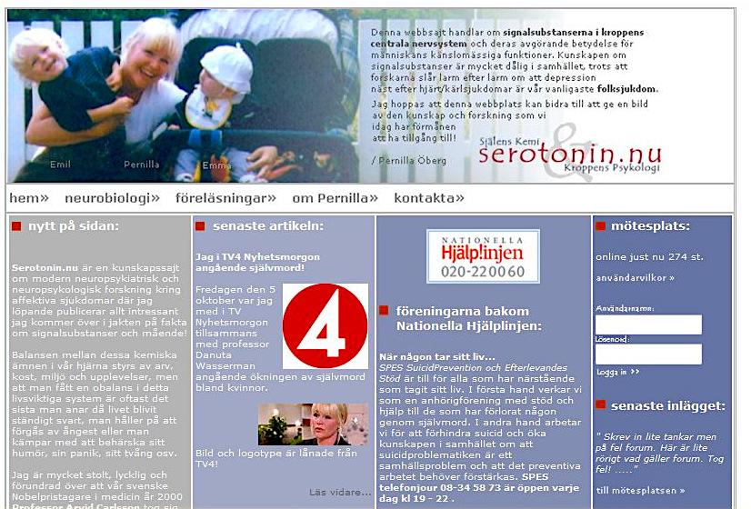 Serotonin.nu framsida Pernilla Öberg 2007